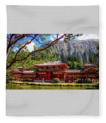 Buddhist Temple - Oahu, Hawaii - Fleece Blanket