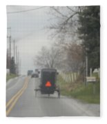 A Buggy Travels Down A Road In Spring Fleece Blanket
