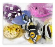 A Bunch Of Colorful Fish No 01 Fleece Blanket