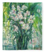 A Bunch Of Orchid Paintings Fleece Blanket