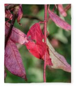 A Bunch Of Red Leaves Fleece Blanket