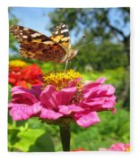 A Butterfly On The Pink Zinnia Fleece Blanket