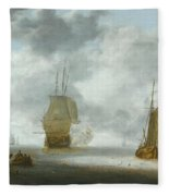 A Calm Sea With A Man Of War And A Fishing Boat Fleece Blanket