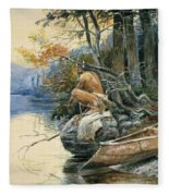 A Camp Site By The Lake Fleece Blanket