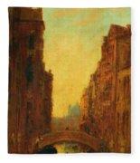 A Canal In Venice Fleece Blanket