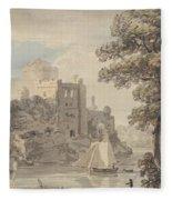 A Castle On A River Fleece Blanket