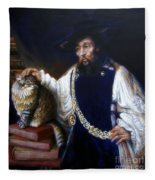 A Cat For Rembrandt_ Aristotle Caresses Calliope Fleece Blanket