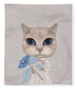 A Cat With A Blue Flower Fleece Blanket