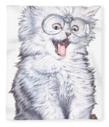 A Cat With Glasses Fleece Blanket