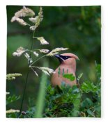 A Cedar Waxwing Facing Left Fleece Blanket