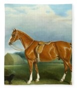 A Chestnut Hunter And A Spaniel By Farm Buildings  Fleece Blanket