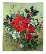 A Christmas Arrangement With Holly Mistletoe And Other Winter Flowers Fleece Blanket