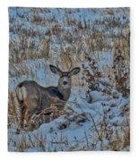 A Christmas Day Young Buck Fleece Blanket