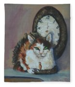 A Clockwork Cat Fleece Blanket
