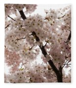 A Cloud Of Pastel Pink Cherry Blossoms Celebrating The Arrival Of Spring  Fleece Blanket
