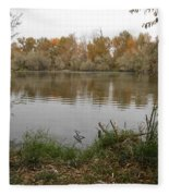 A Cloudy Day On The Pond Fleece Blanket