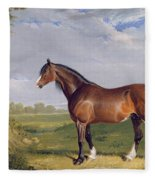 A Clydesdale Stallion Fleece Blanket