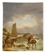 A Coastal Landscape Of The Isle Of Wight With Figures On Horse Back Near A Cottage Fleece Blanket