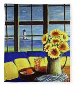 A Coastal Window Lighthouse View Fleece Blanket