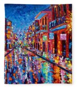 A Cool Night On Bourbon Street Fleece Blanket