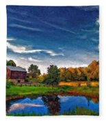 A Country Place Painted Version Fleece Blanket