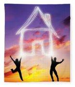 A Couple Jump And Make A House Symbol Of Light Fleece Blanket