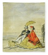 A Couple Seated And A Couple Walking On The Beach Fleece Blanket