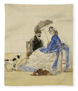A Couple Seated On The Beach With Two Dogs Fleece Blanket