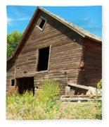 A Crooked Old Barn  Fleece Blanket