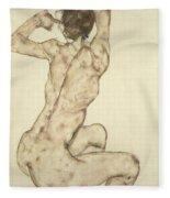A Crouching Nude Fleece Blanket