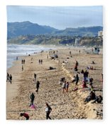 A Day At The Beach In Santa Monica Fleece Blanket