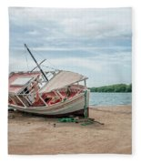 A Day Of Fishing Aground Fleece Blanket