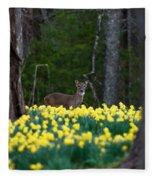 A Deer And Daffodils 4 Fleece Blanket