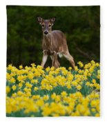 A Deer And Daffodils IIi Fleece Blanket