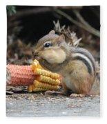 A Delicious Treat - Chipmunk Eating Corn Fleece Blanket