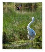 A Disagreement At The Pond Fleece Blanket