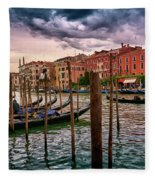Surreal Seascape On The Grand Canal In Venice, Italy Fleece Blanket