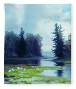 A Dreary Day At The Pond Fleece Blanket