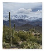 A Dusting Of Snow In The Sonoran Desert  Fleece Blanket