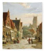 A Dutch Street In Summer Fleece Blanket