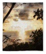 A Fiery Sunset Fleece Blanket