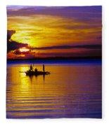 A Fisherman's Sunset  Fleece Blanket