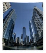 A Fisheye View Of The Chicago Skyline As You Appraoch Wolf Point Fleece Blanket