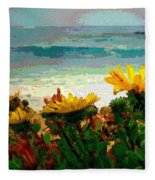 A Flowery View Of The Surf Watercolor Fleece Blanket