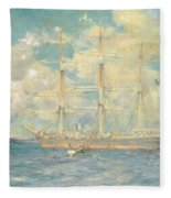 A French Barque In Falmouth Bay Fleece Blanket