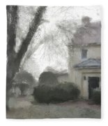 A Frosty Foggy Morning At The Manor House Fleece Blanket