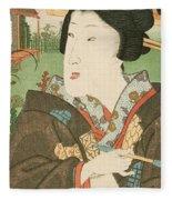 A Geisha With A Pipe Fleece Blanket