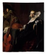 A Gentleman And A Lady With Musical Instruments Fleece Blanket