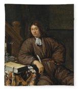 A Gentleman At His Desk Fleece Blanket