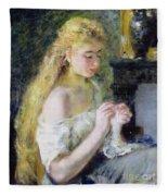 A Girl Crocheting Fleece Blanket
